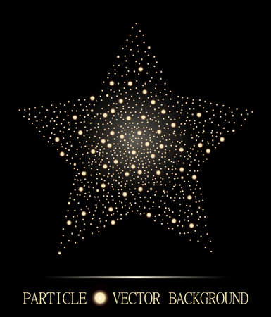 atomic: Abstract star of glowing light particles on black background. Atomic technology design. Style background for presentations, cards, scientific and jewelry design.