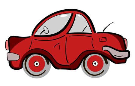 old and new: Red retro vintage flat car. Vector illustration Illustration