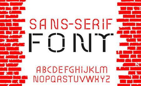 Red sans-serif modern font on old brick wall background. illustration