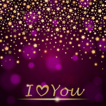 ambient: abstract shining falling stars on violet ambient blurred background I love You. Luxury design. illustration
