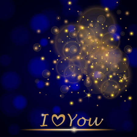 abstract shining falling stars on blue ambient blurred background I love You. Luxury design. illustration