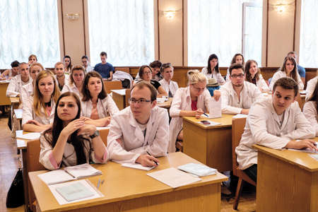 Kiev, Ukraine - July 6, 2015: dentists, doctors, students at lecture