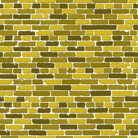 old brick wall: seamless texture of gold realistic old brick wall with shadows. illustration