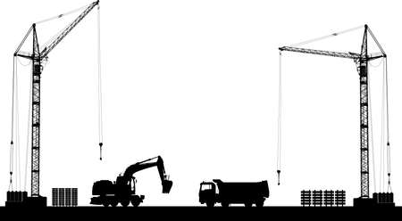 building site: Building site with detailed silhouettes of construction machines on white background. Vector illustration