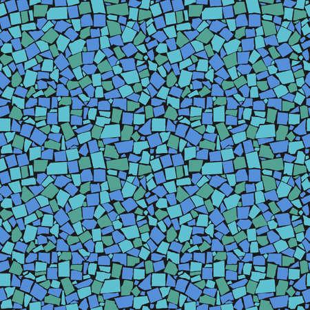 rough background: seamless texture of sea blue asymmetric decorative tiles wall. illustration