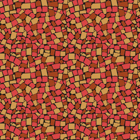 seamless texture of red, yellow and brown asymmetric decorative tiles wall. Vector illustration