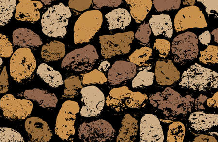 coquina: texture of multicolored stone coquina wall in cement. illustration