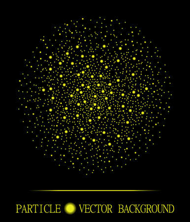 atomic explosion: Abstract shpere of yellow glowing light particles space black background. Atomic explosion design. Style background for presentation, cards, scientific and jewelry design. illustration Illustration