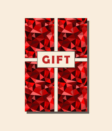 rumpled: Red and beige vector vintage gift card design with abstract geometric rumpled triangular graphic background. Vector illustration