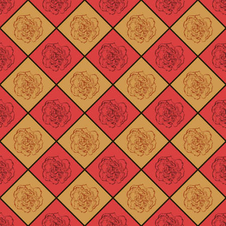 clove: Red and bronze vector seamless chess styled vintage texture with clove flower. Vector illustration Illustration