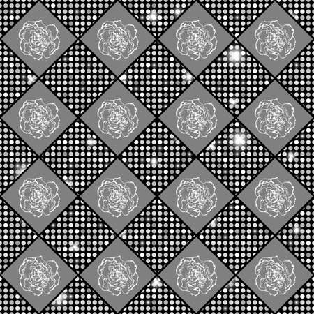 clove: Silver vector seamless chess styled vintage texture with clove flowers and shining rounds. Vector illustration Illustration