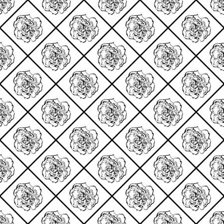 clove: Black and white vector seamless chess styled vintage texture with clove flower. Vector illustration