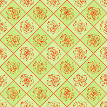 clove: Green and orange vector seamless chess styled vintage texture with clove flower. Vector illustration Illustration