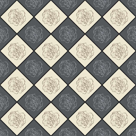 clove: Grey and beige vector seamless chess styled vintage texture with clove flower. Vector illustration