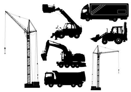 Construction equipment: trucks, excavator, bulldozer, elevator, cranes. Detailed silhouettes of construction machines isolated on white. Vector illustration Illustration