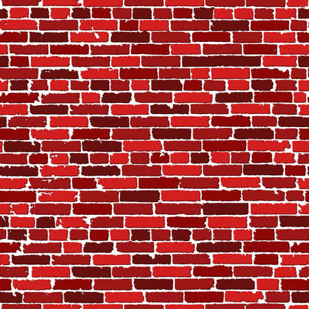 old brick wall: Vector seamless texture of red realistic old brick wall with shadows. Vector illustration Illustration