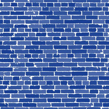 Vector naadloze textuur van blauw realistische oude bakstenen muur met schaduwen. vector illustratie
