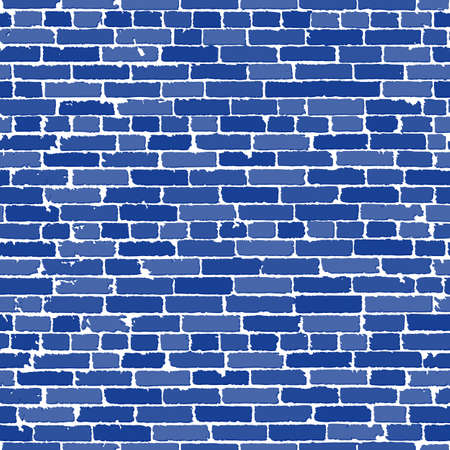 Vector seamless texture of blue realistic old brick wall with shadows. Vector illustration