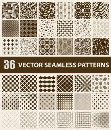 レトロな 36 のパック スタイル ブラウン ベクトル シームレス パターン: 抽象、ヴィンテージ、技術及び幾何学的。ベクトル図