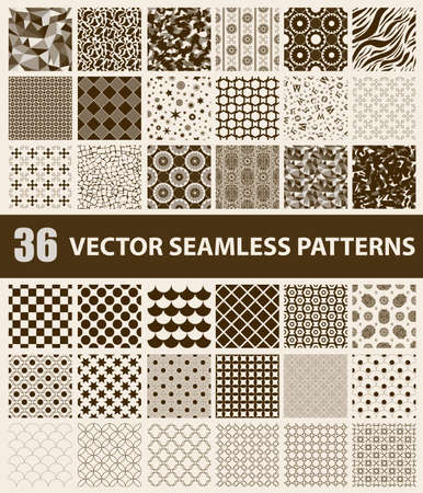 Pack of 36 retro styled brown vector seamless patterns: abstract, vintage, technology and geometric. Vector illustration