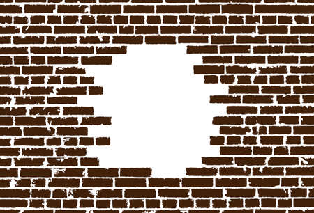 ruined house: Broken realistic old brown brick wall concept on white background. Vector illustration Illustration