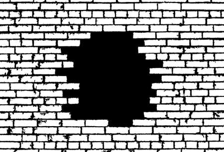 ruined house: Broken realistic old white brick wall concept on black background. Vector illustration