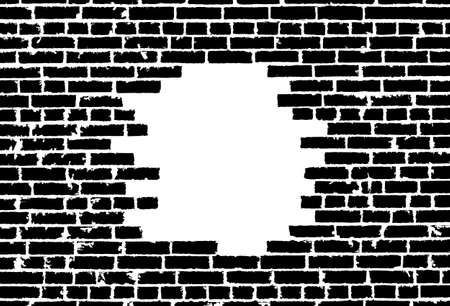 ruined house: Broken realistic old black brick wall concept on white background. Vector illustration