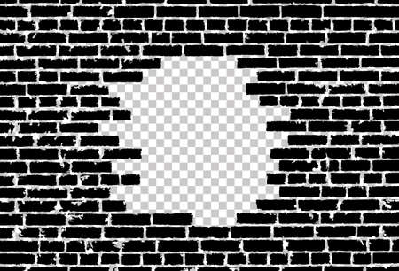Broken realistic old black brick wall concept on transparent background. Vector illustration Stock Illustratie