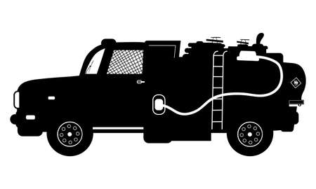 camion: Vector detailed silhouette of fuel carrier truck isolated on white. Vector illustration