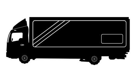 camion: Vector detailed silhouette of truck isolated on white. Vector illustration