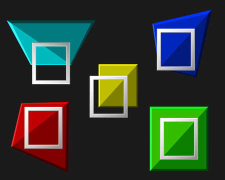 silver picture frame: Vector modern origami geometric multicolor 3D frames on black background. Vector illustration