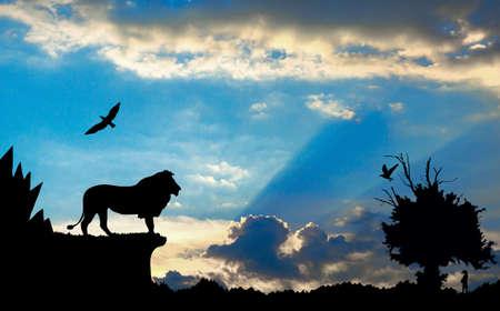 arbol p�jaros: Selva con las monta�as, los �rboles viejos, le�n aves y Meerkat en azul nublado puesta de sol de fondo