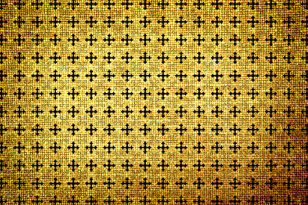 contrasted: Old brown cloth high contrasted texture cross ornamental styled Stock Photo