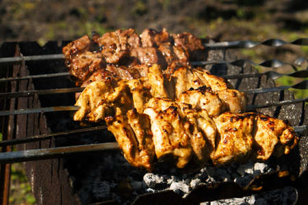 night stick: Chicken and veal kebabs barbecues on skewer grill
