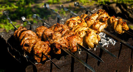 barbecues: Chicken and veal kebabs barbecues on skewer grill
