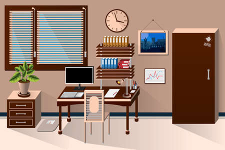 sunblind: interior office room in classic style. illustration