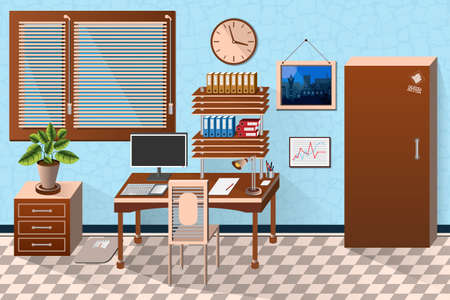 sunblind: interior office room in wooden style. illustration