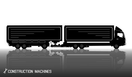 camion: Detailed silhouettes of trailer truck with reflections background. illustration Illustration