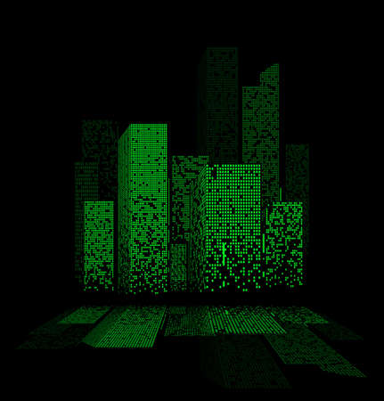 city lights: Green night city lights landscape design with reflections in the water. Vector illustration