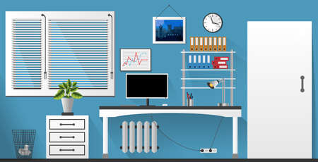 sunblind: Flat vector interior office room in blue and white style. Vector illustration