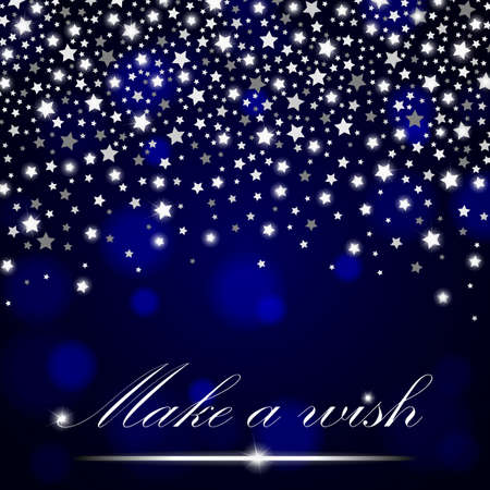 ambient: Silver shining falling stars on blue ambient blurred background. Luxury design. Vector illustration Illustration