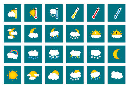 colored window: Set of 24 vector weather square colored window style flat icons on turquoise background. Vector illustration Illustration