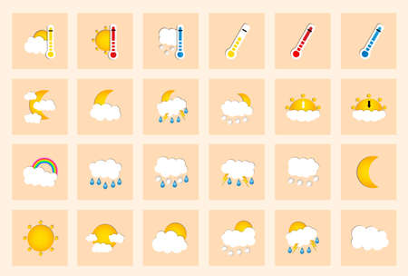 colored window: Set of 24 vector weather square colored window style flat icons on ivory background. Vector illustration Illustration