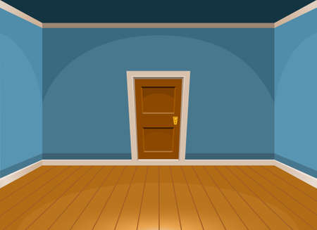 Cartoon flat empty room with a door in blue style. Vector illustration