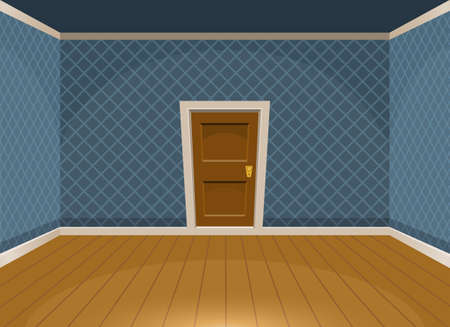 Cartoon empty room with a door in vintage style. Vector illustration