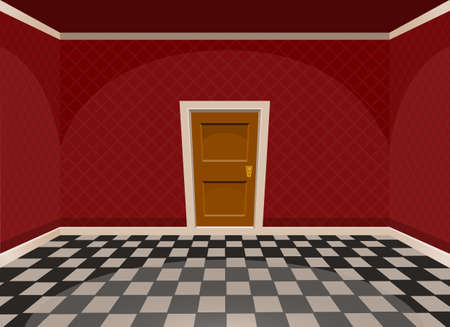 hotel hall: Cartoon empty room with a door in red style. Vector illustration Illustration