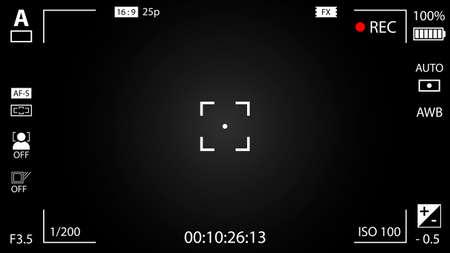 Modern digital video camera focusing screen with settings. Black gradient viewfinder camera recording. Vector illustration