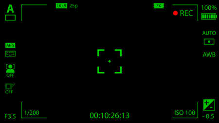 cine: Modern digital video camera focusing screen with settings. Black and green viewfinder camera recording. Vector illustration Illustration