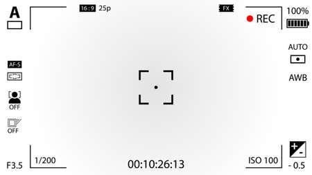 Nowoczesna cyfrowa kamera wideo matówki z ustawieniami. Biały gradientu nagrywania kamery wizjera. ilustracji wektorowych