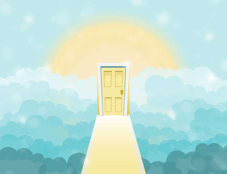heaven: Cartoon door to heaven in the sky. Vector illustration